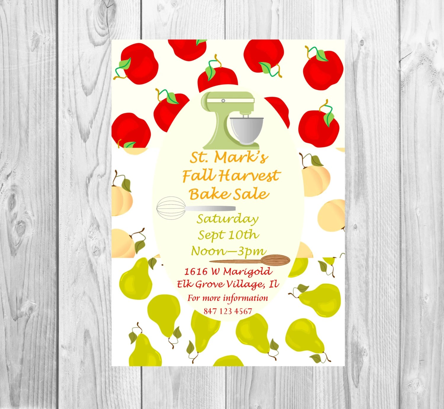 School Bake Sale flyer, Fall Harvest baking contest, Pie competition