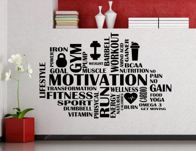 Fitness Word Cloud Wall Decal Gym Motivational Vinyl Sticker