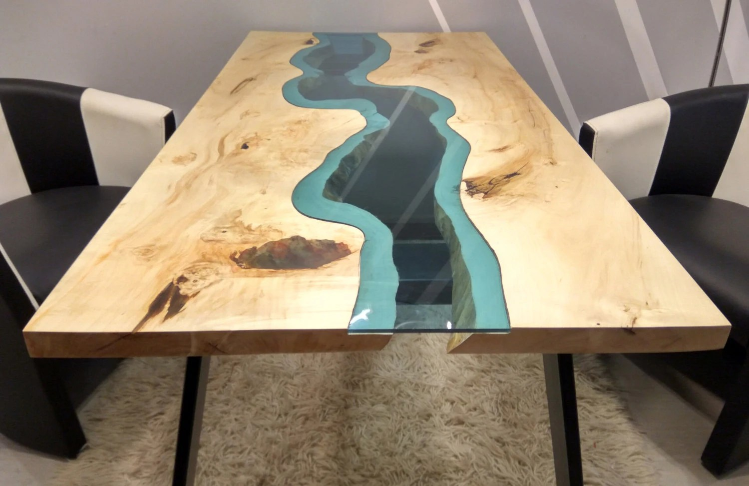 Naturholztische Massiv Live Edge River Table With With Epoxy Inlay