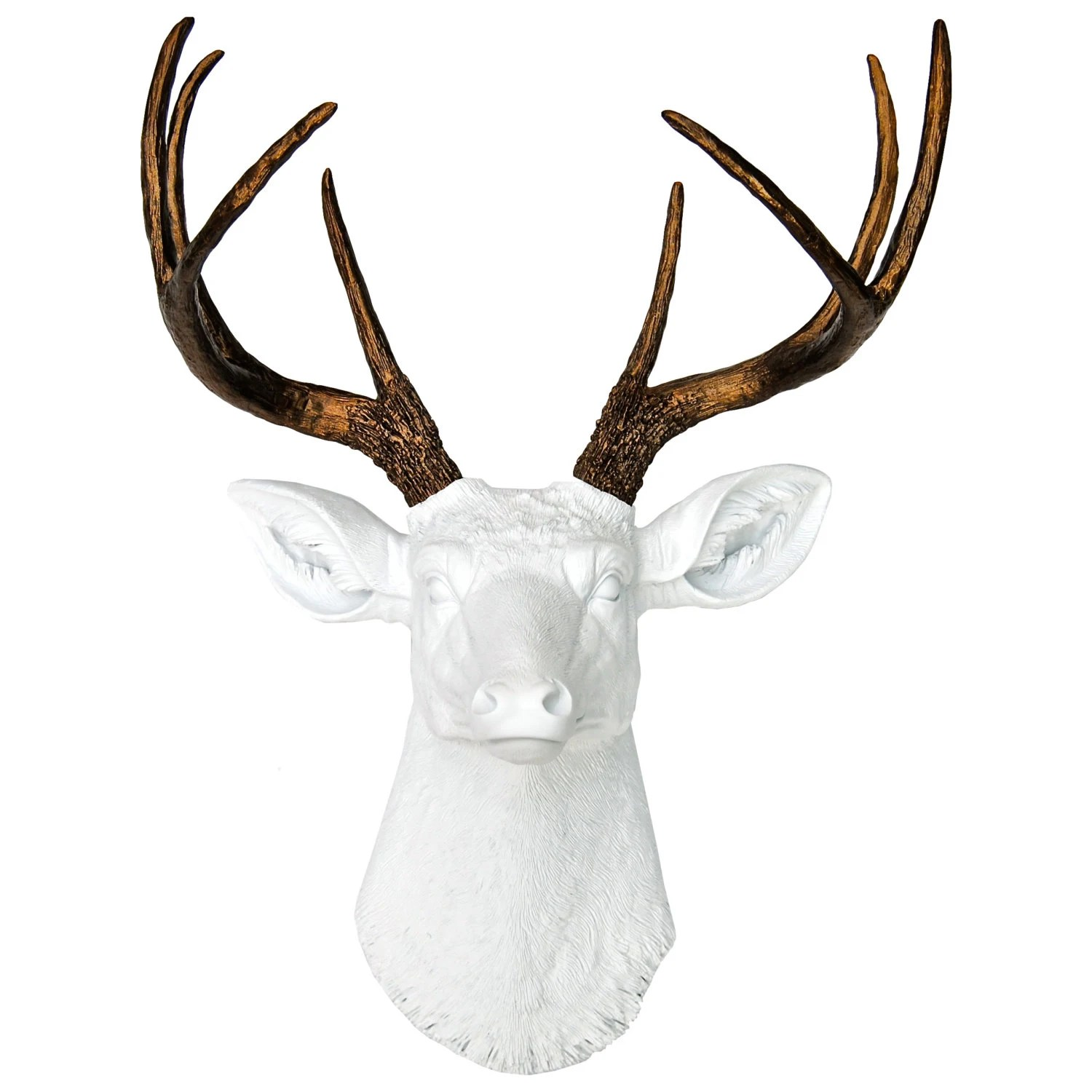 Fake Taxidermy Deer Head Deer Head Wall Mount In White And Bronze Faux Taxidermy Deer