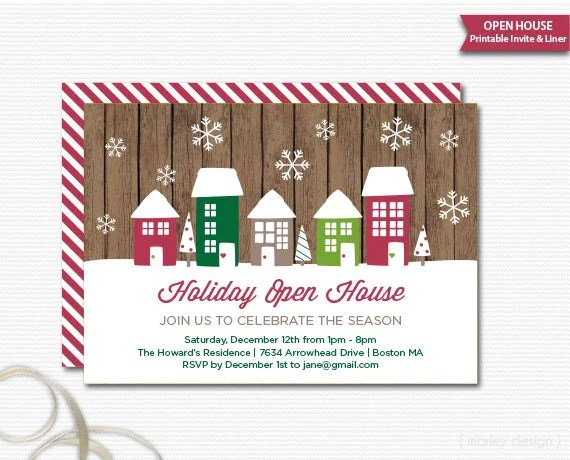 Holiday Open House Invitation Rustic Christmas Invitation Holiday
