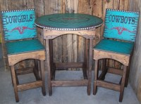 Rustic Western Round Kitchen table and chairs Dinning table
