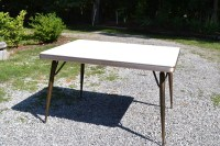 Retro Formica Kitchen Table Aged Brass Metal Legs Beige