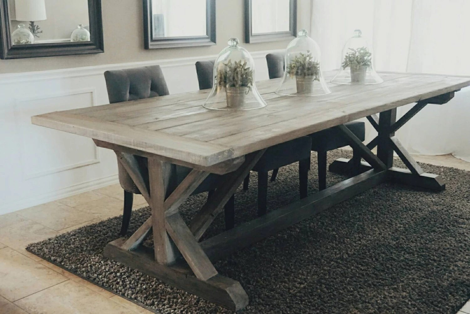 trestle table farm style kitchen table Made to Order inch X Style Farmhouse Trestle Table
