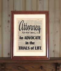 Attorney Dictionary Print Law Office Decor Lawyer Quote