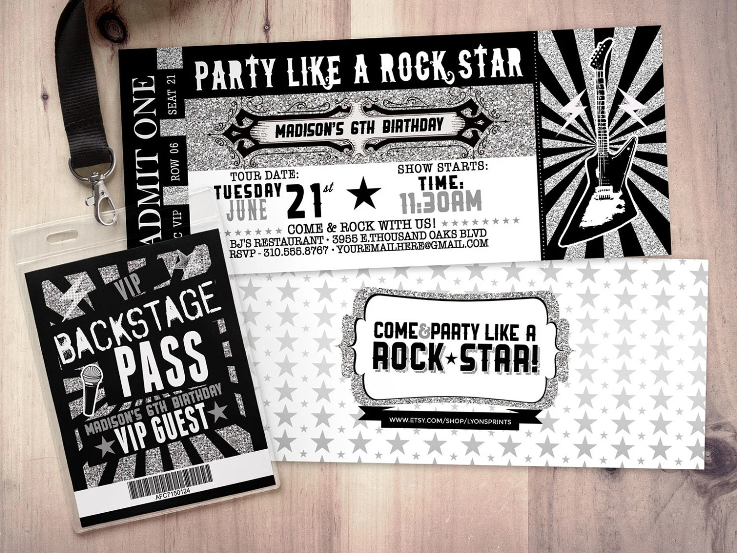 ROCK STAR concert ticket birthday party invitation- Music invitation