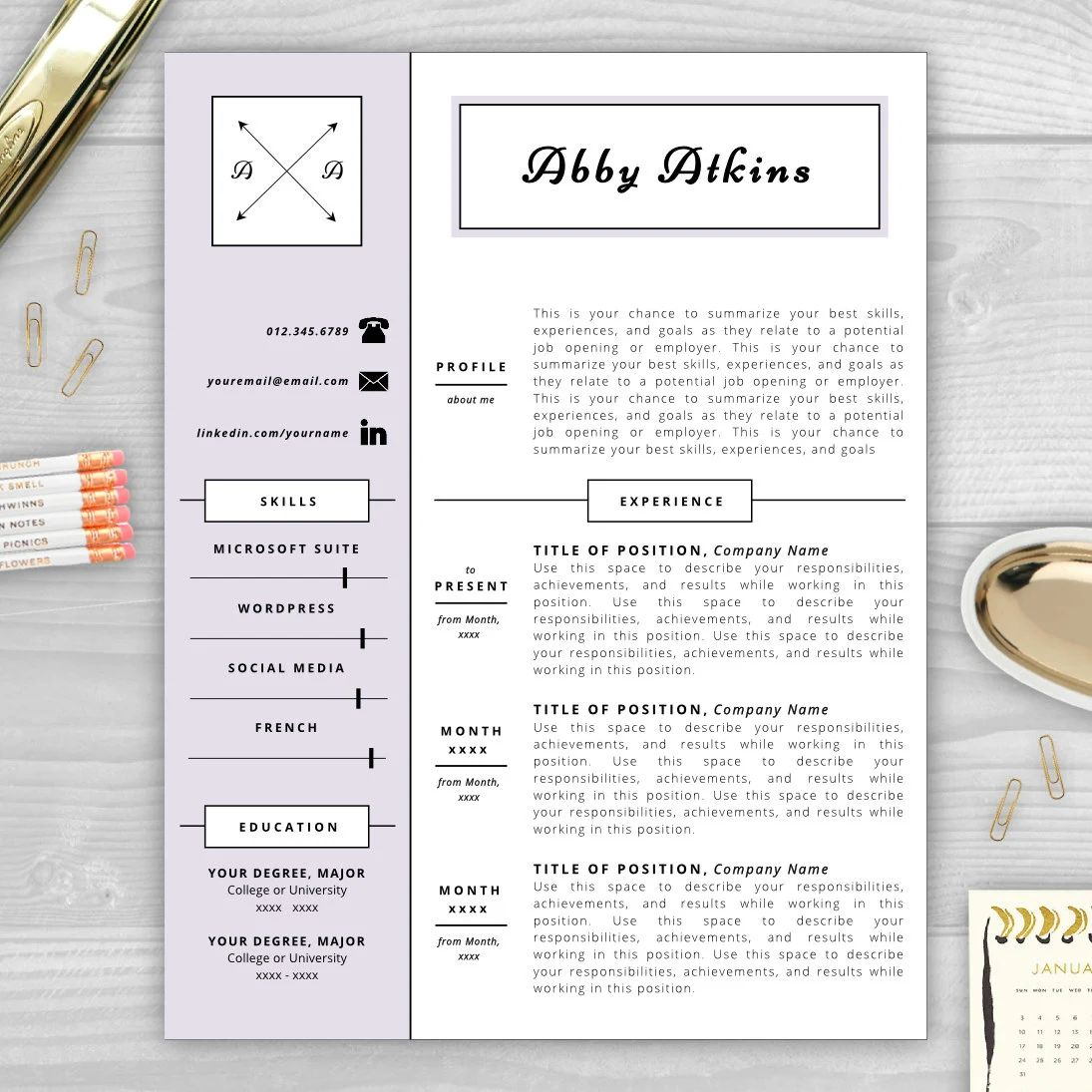 professional resume with monogram template