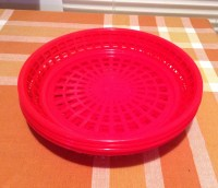 Vintage 4 Red Plastic Paper Plate Holders Picnic Tailgate
