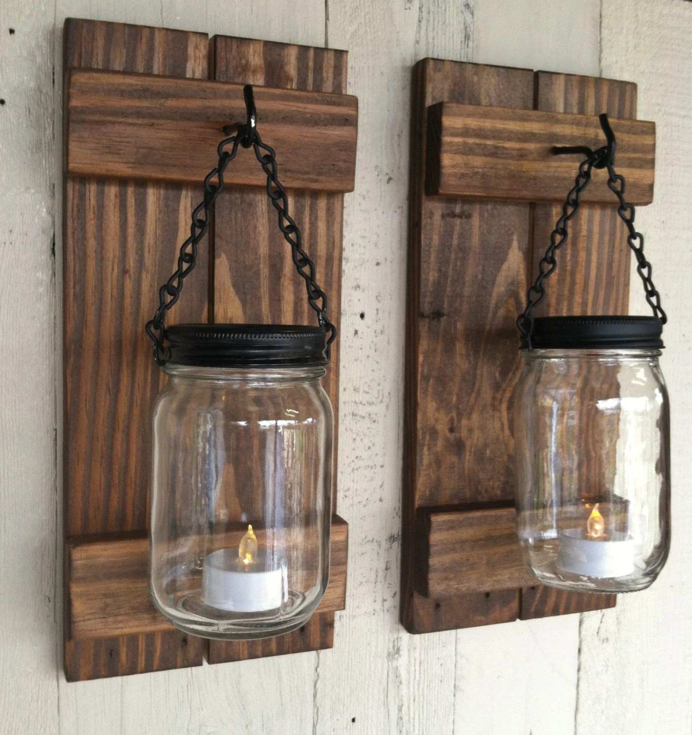 Mason Jar Candle Holders Reclaimed Wood Wall By Lowerarkcrafts