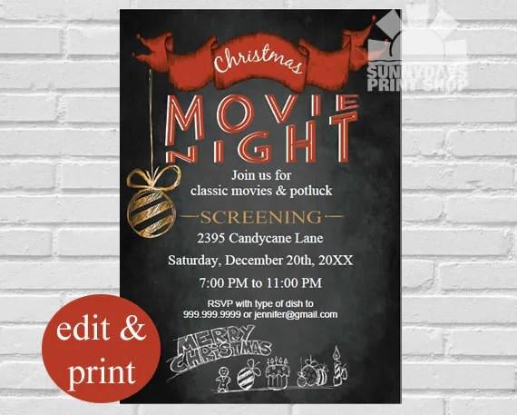 Christmas Movie Night Invitation, Holiday Celebration, Christmas - holiday celebration invitations