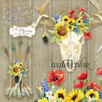 Watercolor Boho Deer Antlers, Sunflower Bluebonnet Red ...