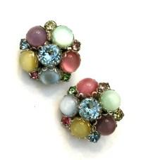 Jewel Tone Cluster Earrings Multi-Color Moon by Vintageimagine