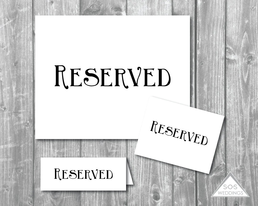 Printable Reserved Signs, Reserved Seating Signs, Wedding Signs