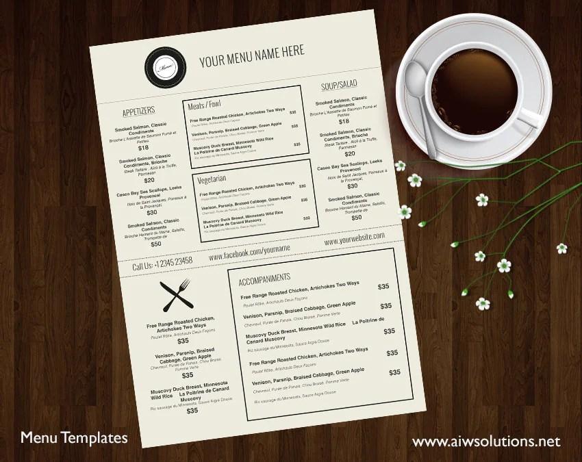 business menu template - Minimfagency