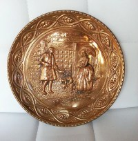 Vintage Brass Plate Wall Art Wall hanging Wall decor Wall