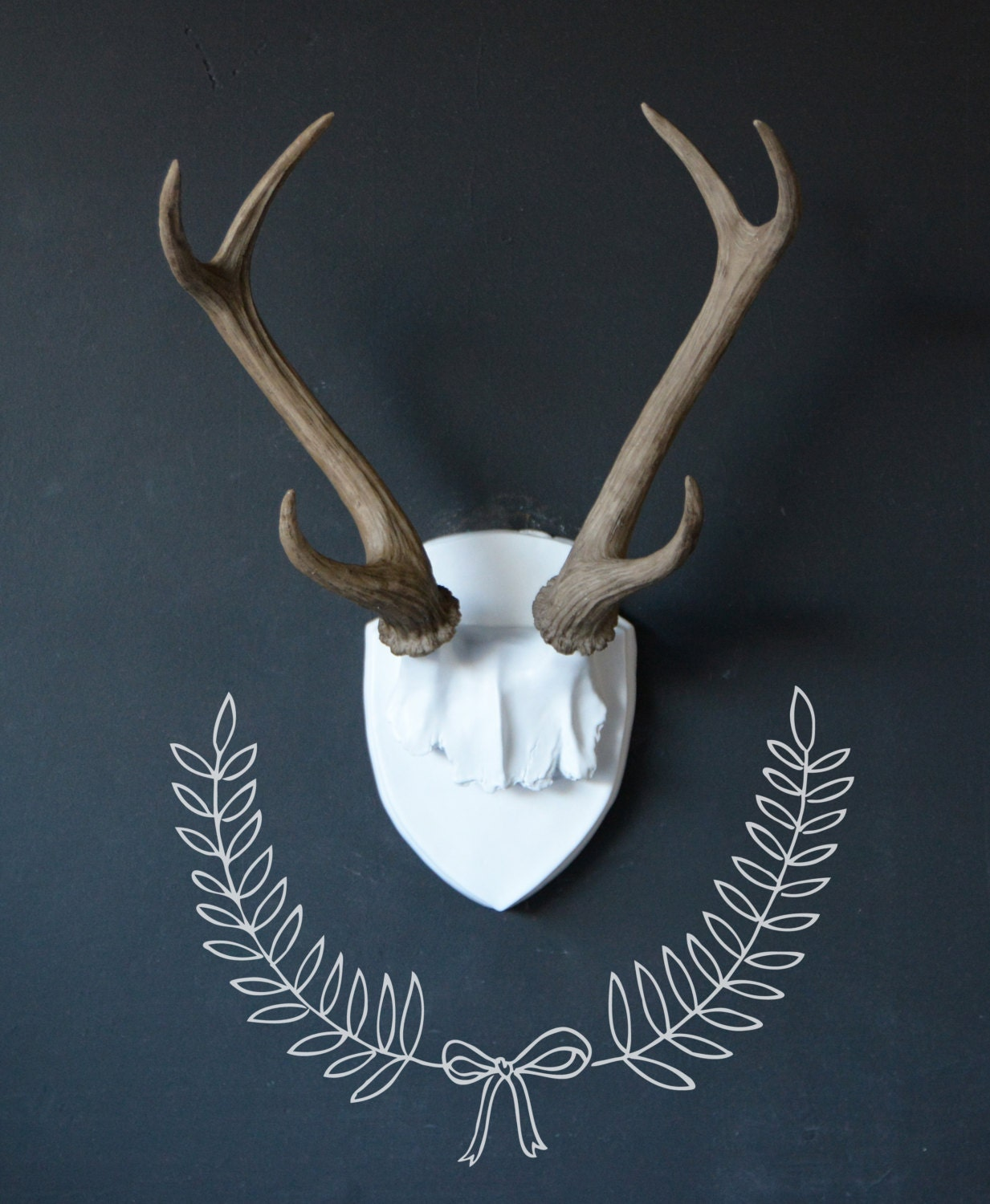 Fake Deer Skull And Antlers Large Faux Deer Antler Mount White Plaque With Natural