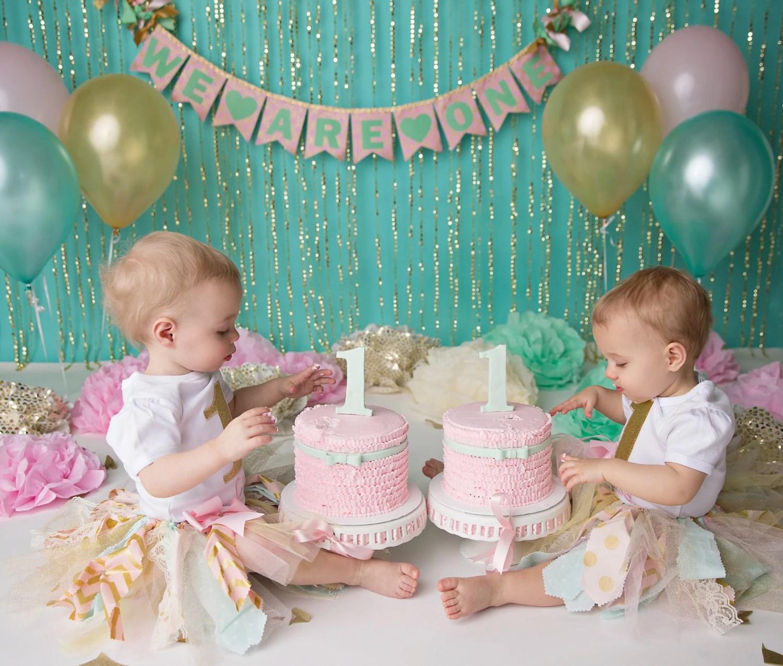 PINK  GOLD 1st Birthday BANNER  Twin birthday  Cake smash banner - first birthday banner