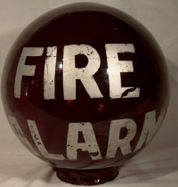 Fire Alarm Red Glass Lamp Globe 1920s Firefighting Collectible