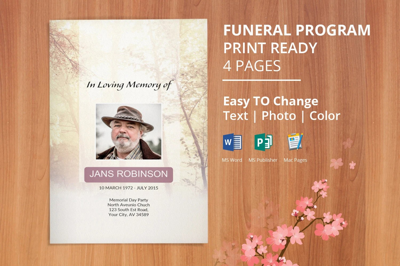Instant Download Funeral Program Template, Memorial Program - memorial program