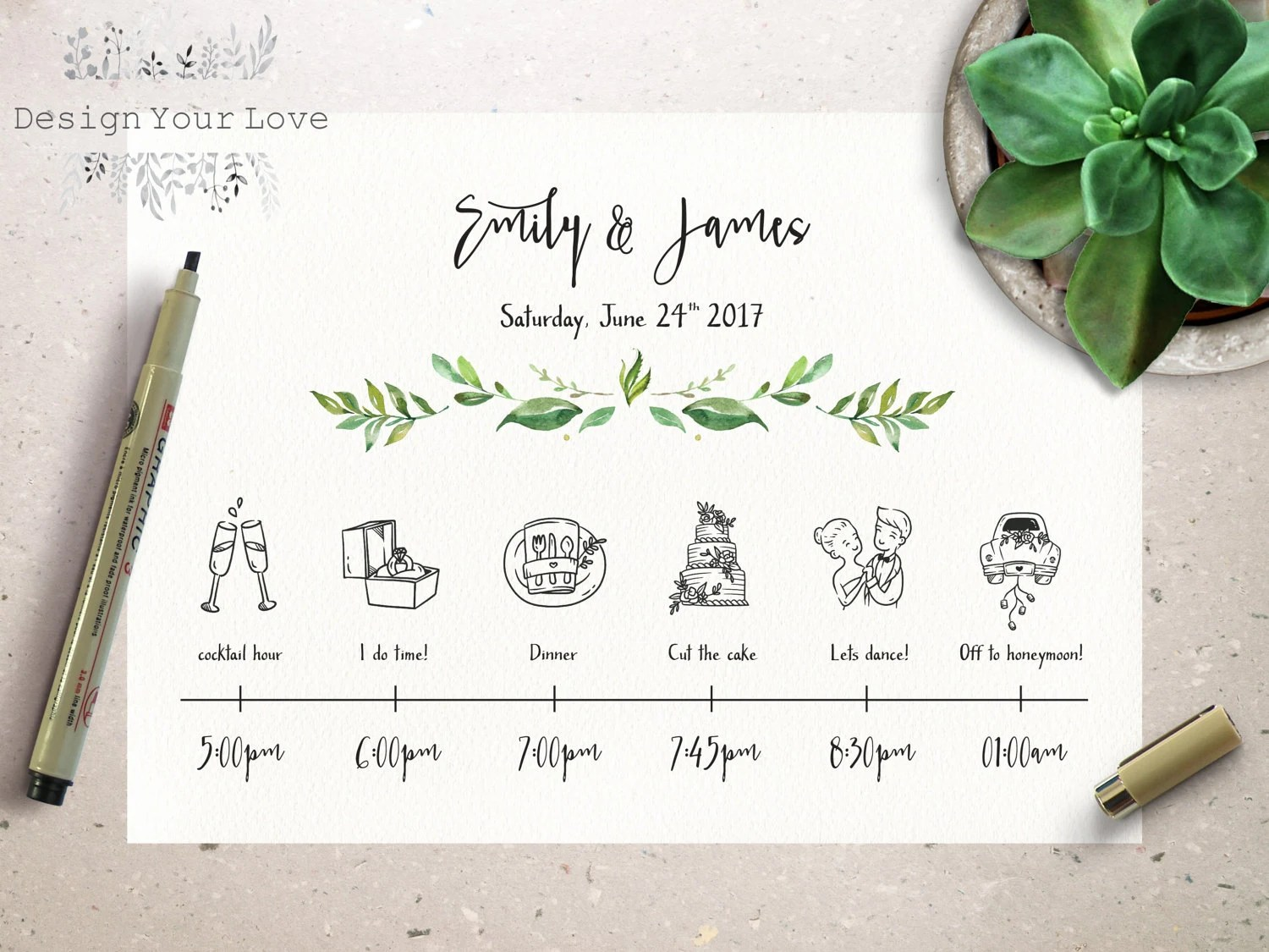 wedding timeline printable wedding itinerary template green - wedding timeline