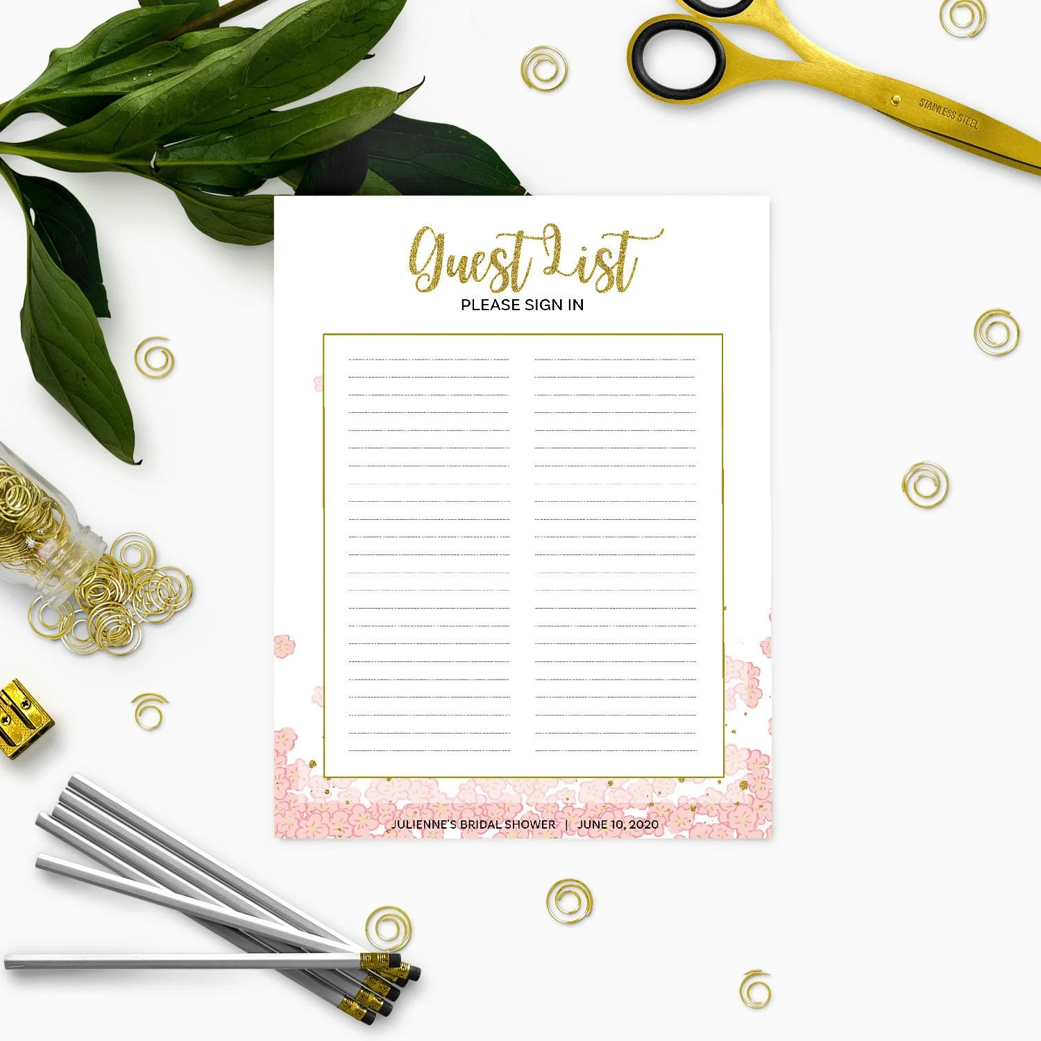 Printable Guest List Sign In-Pink and Gold Bridal Shower Sign in - printable guest book templates