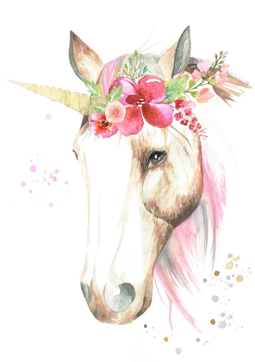 Cute Baby Girl Child Wallpaper Watercolour Unicorn With Flower Crown Print