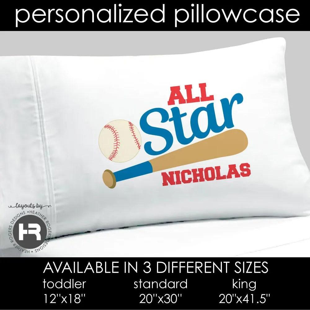 All Star Baseball Pillowcase Boys Personalized All Star