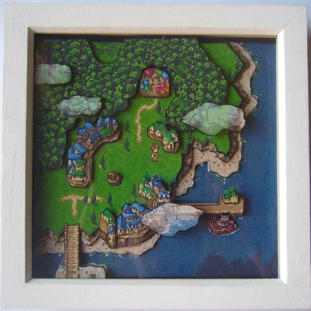 Chrono Trigger 3d Map Shadow Box Diorama Framed Art Super