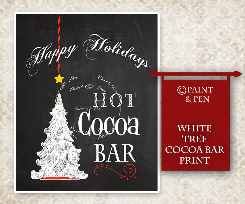 HOLIDAY PARTY Sign- Hot Cocoa Party Sign- Happy Holidays Sign