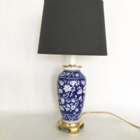 Vintage Wedgewood Lamp Ginger Jar Blue White Porcelain