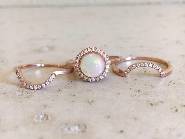 opal engagement ring opal wedding ring sets Round Opal Engagement Ring Rose Gold Opal Engagement Ring Set Genuine Opal Bridal Set Ring Fire Opal Halo Wedding Ring Set