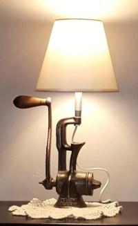 Meat Grinder Lamp Unique Lighting Re Purposed Grinder