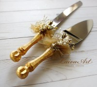 Gold Wedding Cake Server Set & Knife Cake Cutting Set Wedding