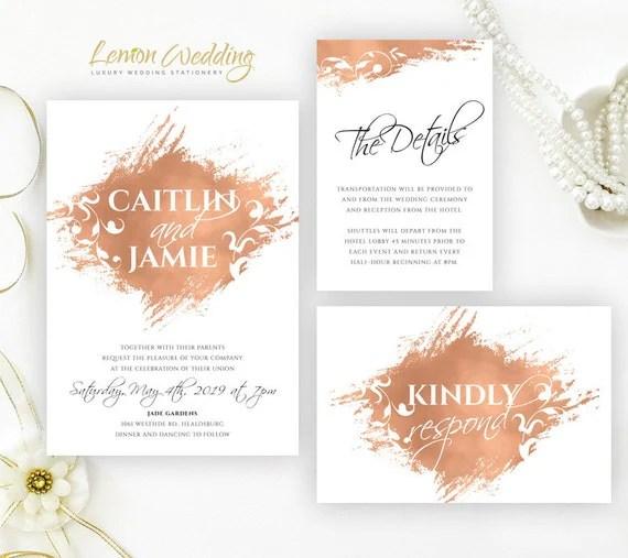 Rose Gold Wedding Invitations Cheap Wedding Invitation Kits
