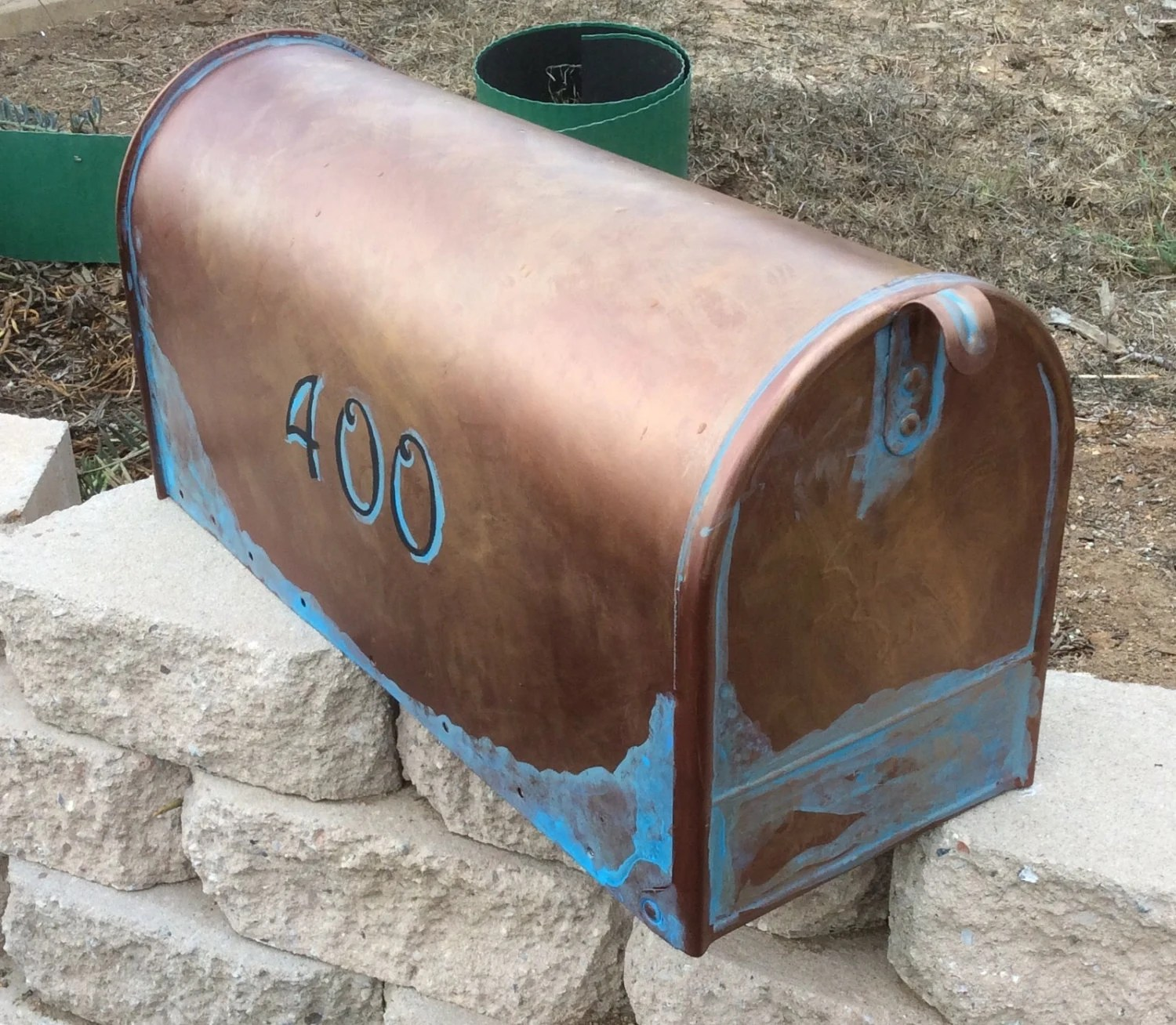 Copper Mailbox Patina Rustic Copper Large Mailbox Hand Painted Verde Patina
