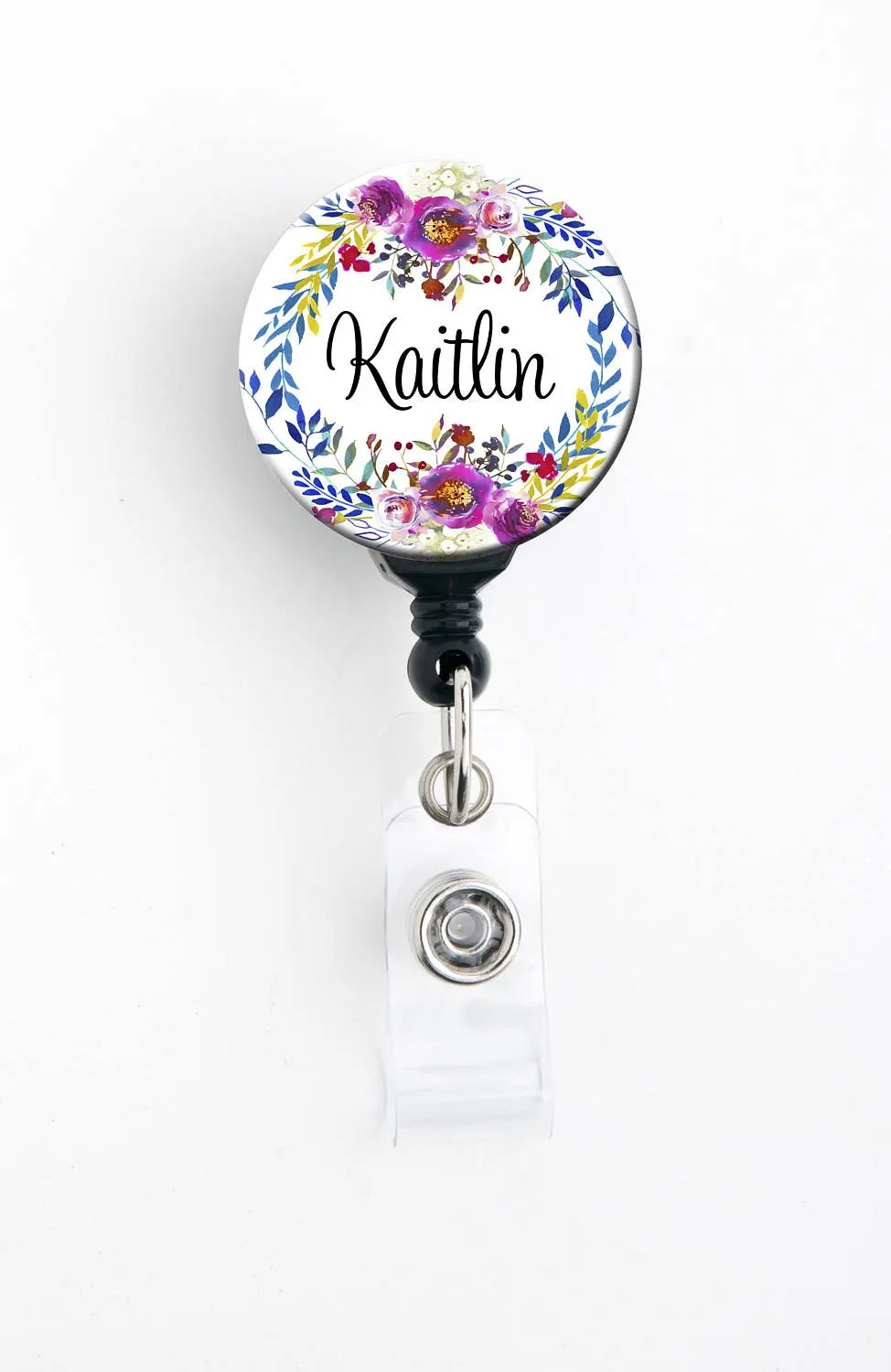 Retractable Id Badge Holder Personalized Name Watercolor