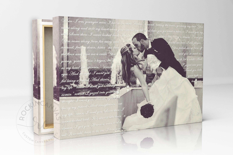 First dance lyrics wedding canvas photo decor words vows lyrics anniversary or wedding art
