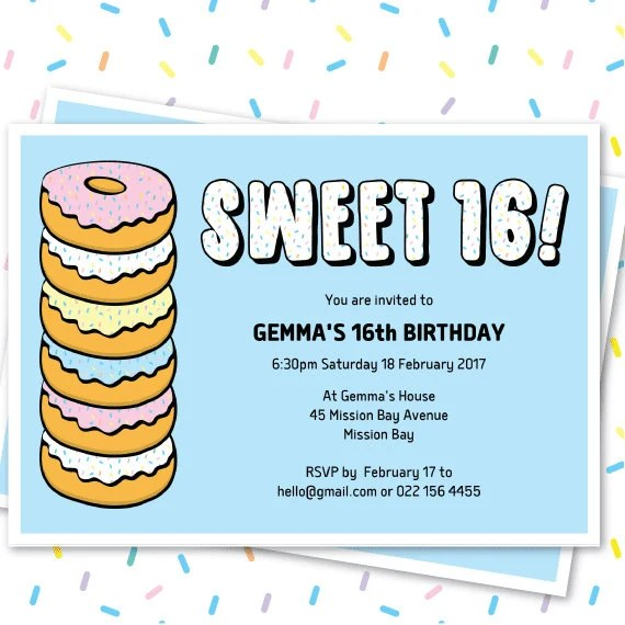 Donut Sweet 16 Invitation Template, Doughnut Party Editable Invite - donut template