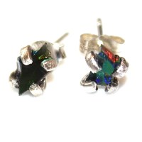 Tiny Black Opal Earring Raw Stud Earring Organic Earring