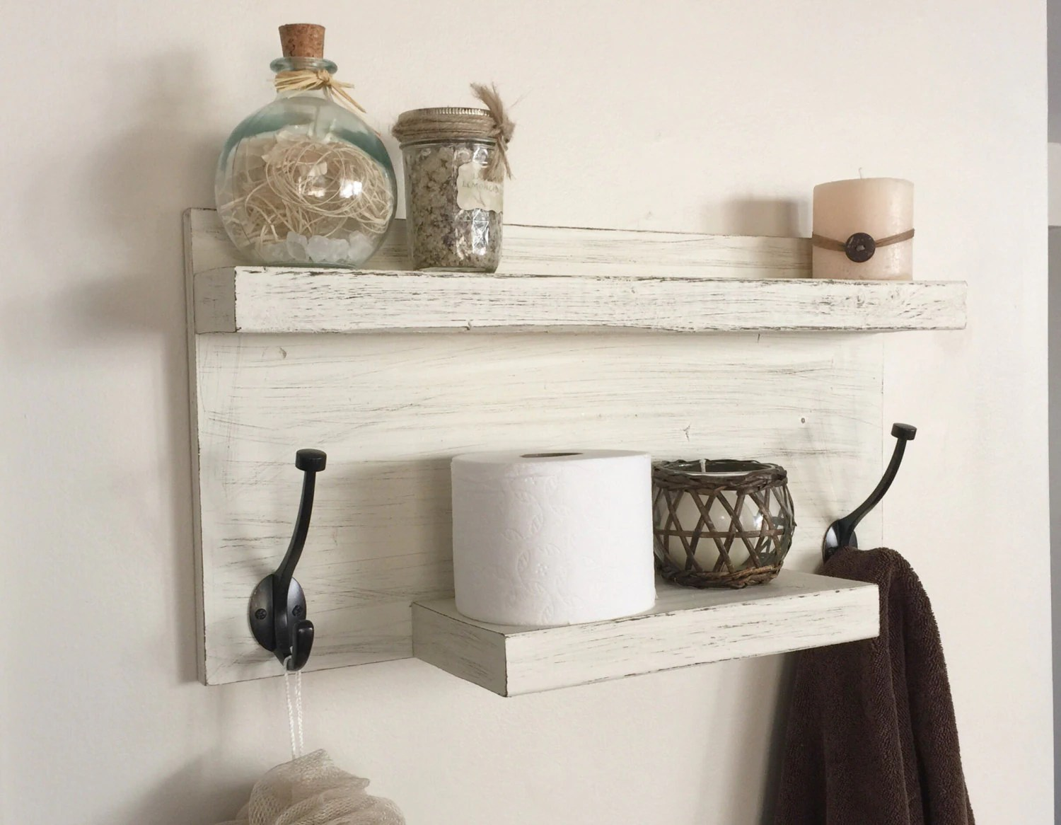 Farmhouse Hand Towel Holder Rustic Bathroom Towel Rack Rustic Shelf Farmhouse Decor