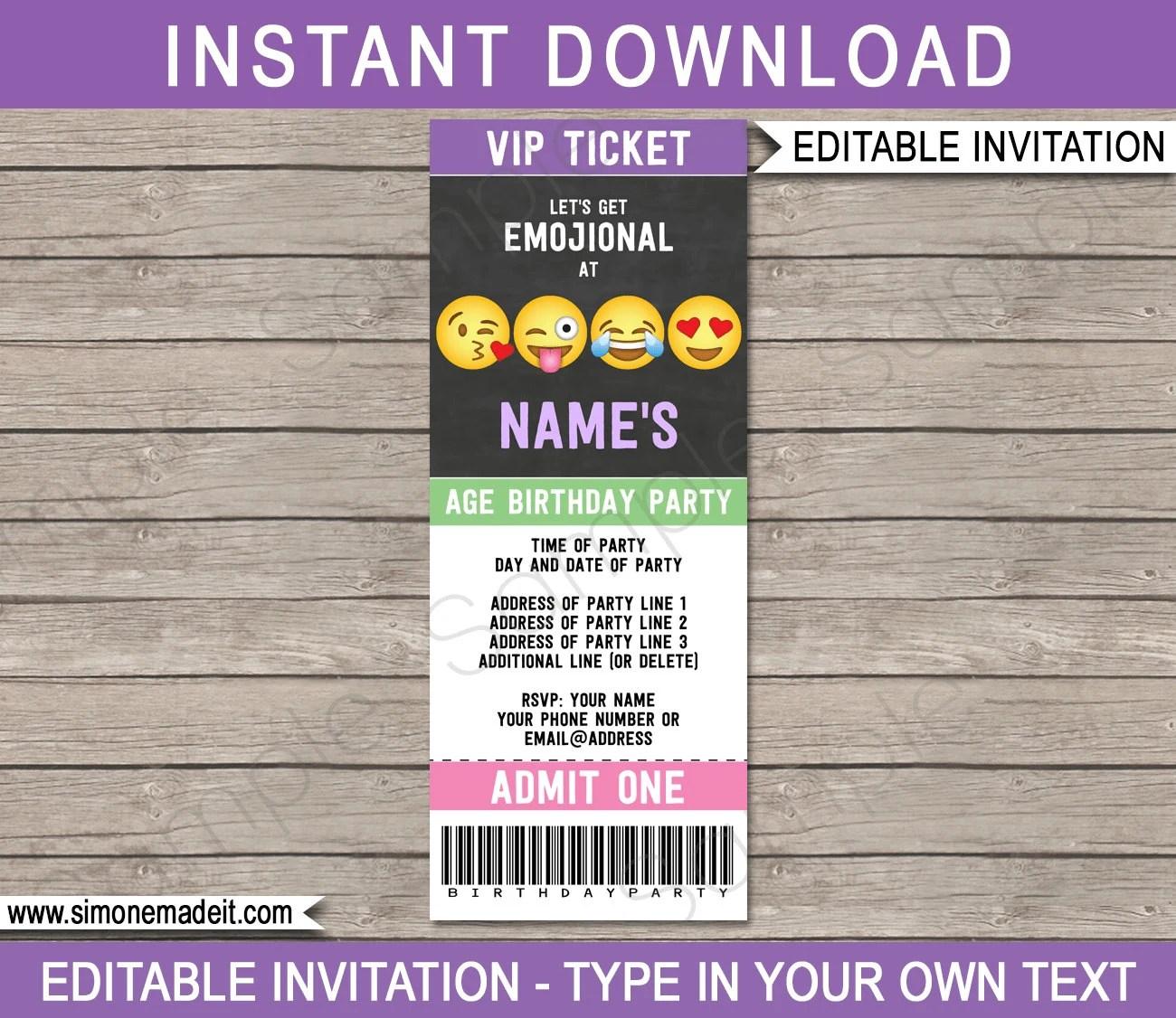 Emoji Ticket Invitation Template Emoji Birthday Party - ticket invitation