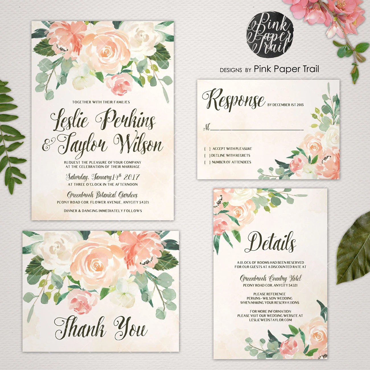 20 OFF coupon on Printable Wedding Invitation Vintage Style in