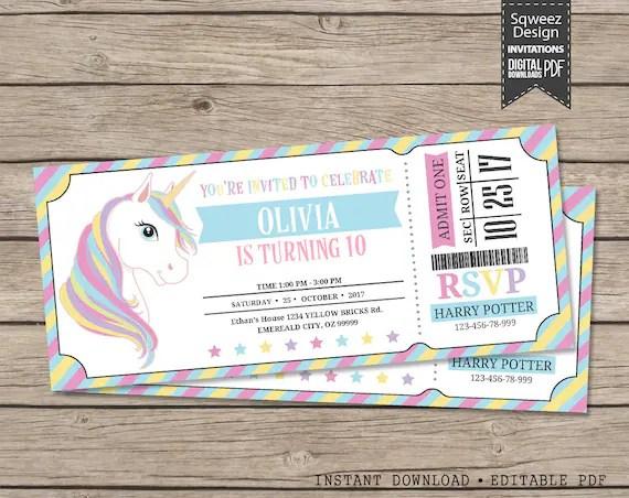 Unicorn ticket Invitations Unicorn Party Invitation - ticket invitation