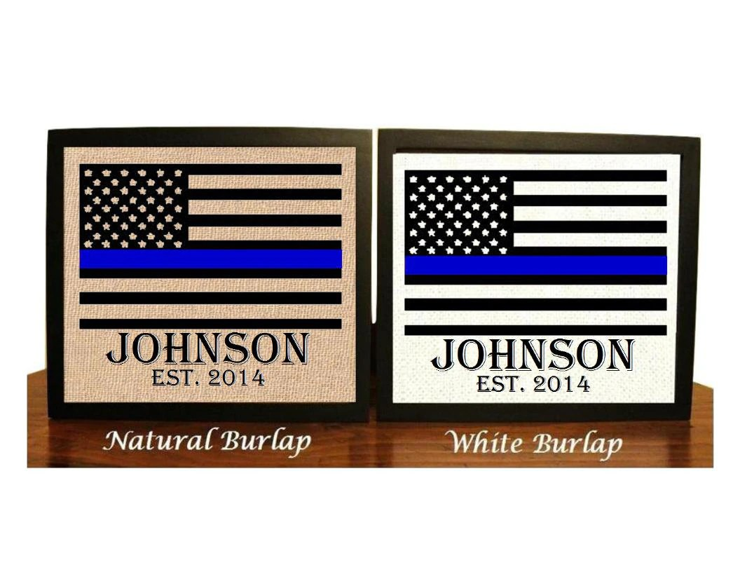 police wedding police wedding rings Police officer gift Thin Blue Line Family Name Burlap Print Police Officer Print