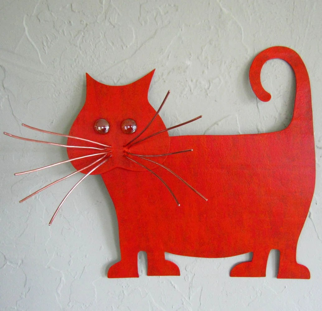 Cat Wall Art Metal Metal Wall Art Cat Sculpture Recycled Metal Kitty Wall Decor
