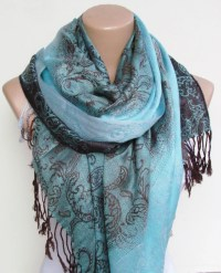 Turquoise Brown Pashmina Scarf Oversize Scarf Fall Winter