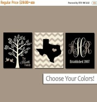 Family Tree Wall Art Personalized Monogram CANVAS or by