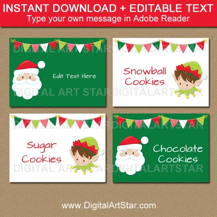 Christmas Place Cards, Santa Labels, Santa Food Labels, Santa Food