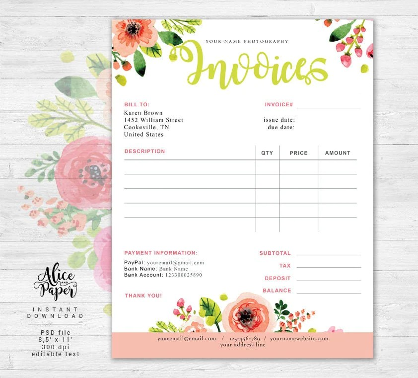 Invoice template Photography invoice Business invoice - photography invoice sample