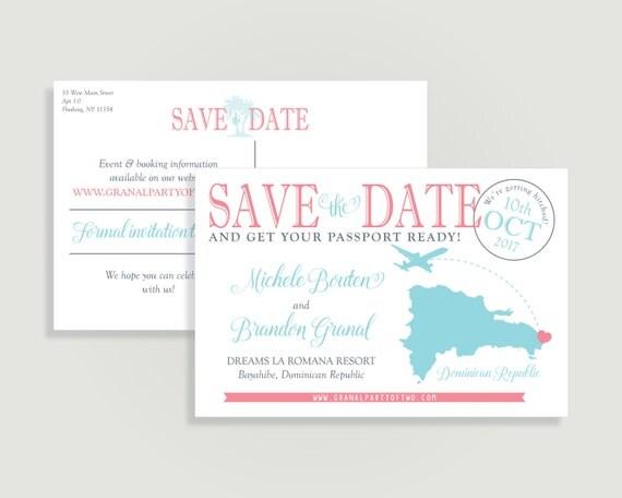 Destination Wedding Save the Date - Postcard Save the Date with Map - save date postcard